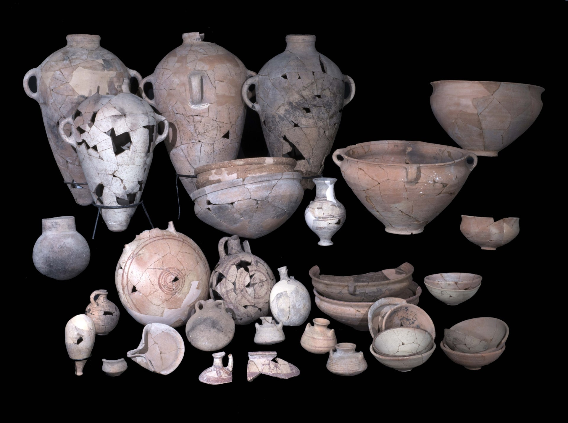 Pottery uncovered in the Canaanite temple, Lachish