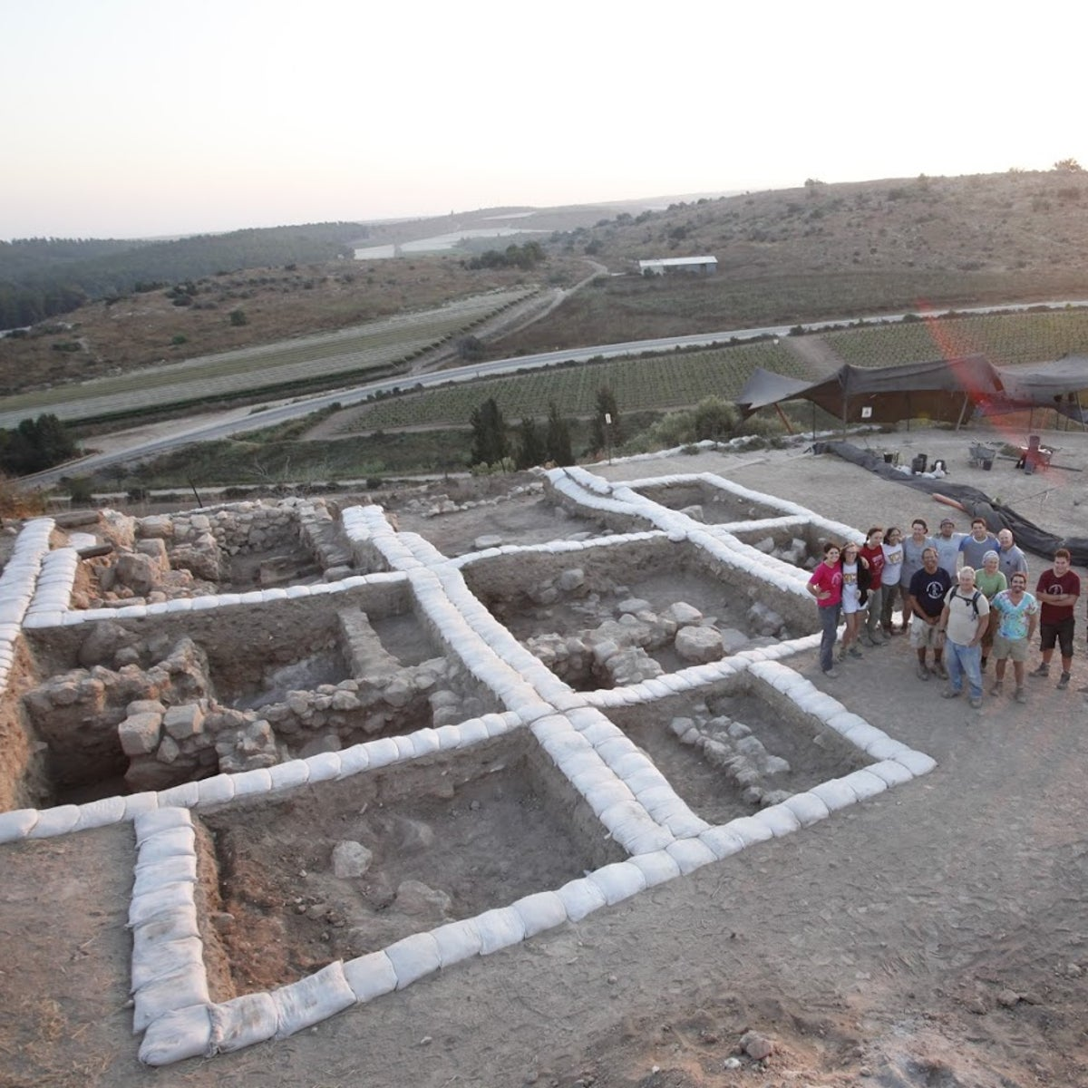 Aerial view of the Canaanite temple at Lachish