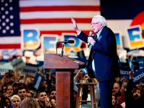 Democratic presidential candidate Vermont Senator Bernie Sanders addresses supporters during a campaign rally in Denver, Colorado on February 16, 2020