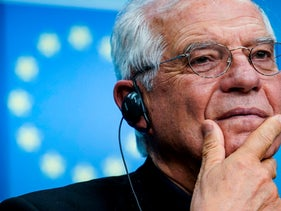 European Union Foreign Affairs chief Josep Borrell gives a press conference during the EU Foreign Affairs ministers' meeting, Brussels, February 17, 2020