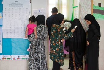 Residents of the Bedouin Arab town of Rahat vote in the Sept. 2019 Knesset election.