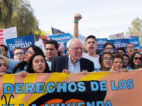 Bernie Sanders and supports, Las Vegas, February 15, 2020.