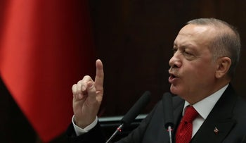 Erdogan speaks during a party meeting at Grand National Assembly of Turkey in Ankara, on February 12, 2020.