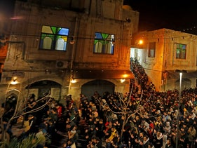 Palestinians attend the Fajr (dawn) prayer at Al-Nasir mosque in Nablus in the Israeli-occupied West Bank, February 14, 2020