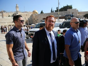Yehuda Glick en route to the Temple Mount in 2017.