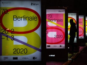 Boards advertise the upcoming Berlinale international film festival on the Potsdamer platz in Berlin, February 1, 2020