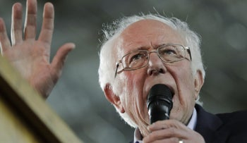 Democratic presidential candidate Sen. Bernie Sanders speaking at a campaign event in Tacoma, Washington, February 17, 2020.