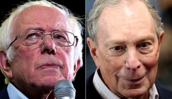 This combination of file pictures created on February 19, 2020 shows Bernie Sanders and Michael Bloomberg.