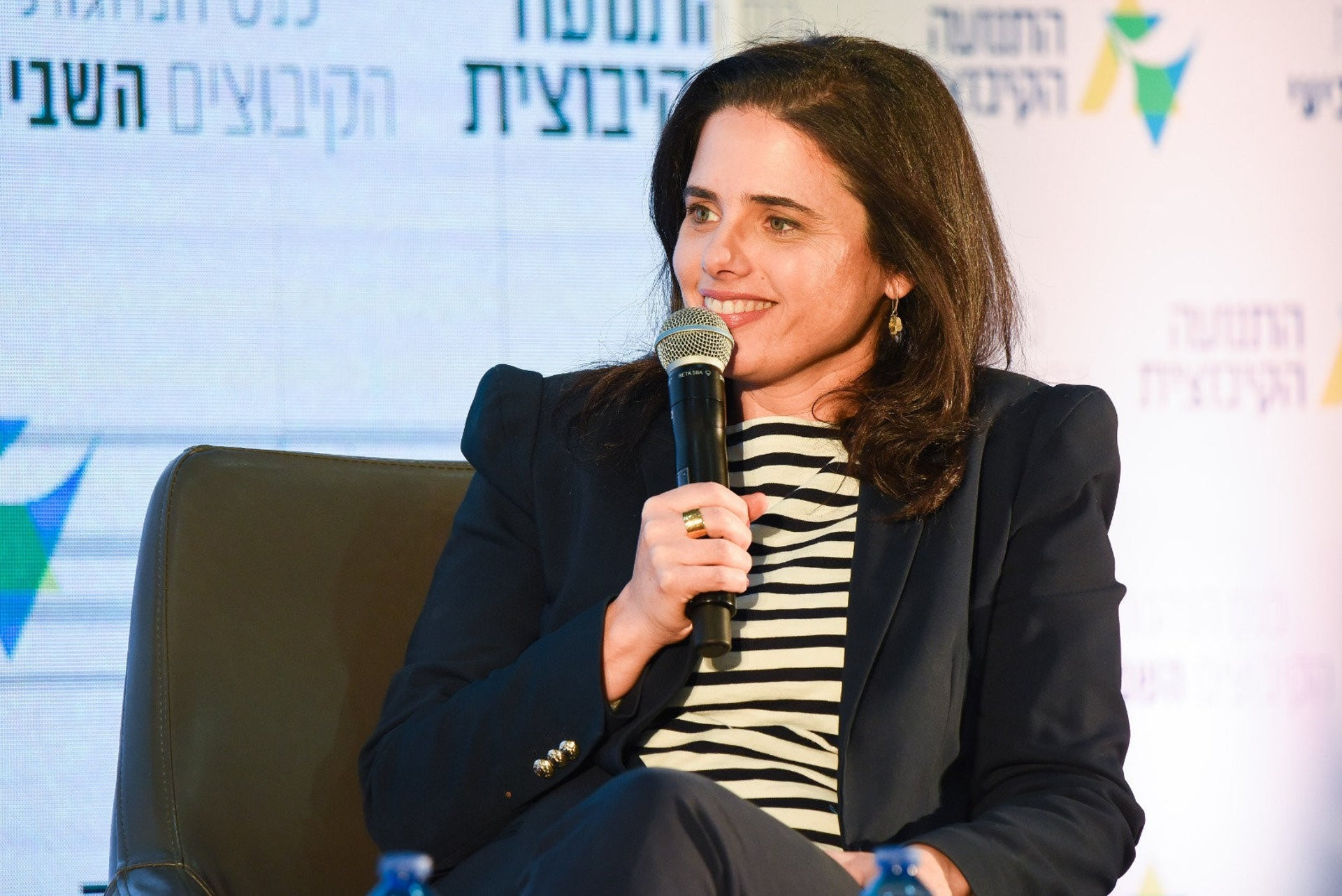 Ayelet Shaked, who leads Hayamin Hehadash, at a conference, February 2, 2020.