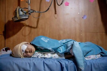 The 9-year-old Palestinian boy who was wounded in Isawiyah at Hadassah Ein-Kerem Hospital in Jerusalem, on February 18, 2020.