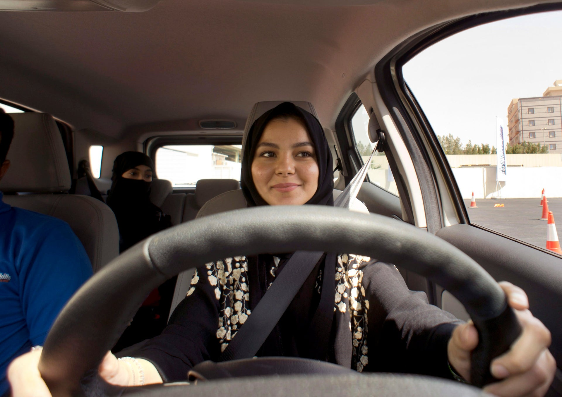 A student at Effat University sits in the driver's seat  for the first time, in Jeddah, Saudi Arabia, March 6, 2018.