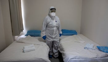 One of the rooms where Israelis considered at risk of having contracted coronavirus will stay at the Chaim Sheba Medical Center in Ramat Gan near Tel Aviv, on February 21, 2020.