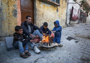 Palestinian family in a refugee camp in Khan Yunis, southern Gaza, January 2020.