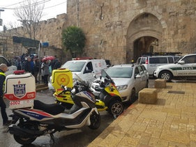Scene of attempted stabbing attack in Jerusalem's Old City, February 22, 2020.