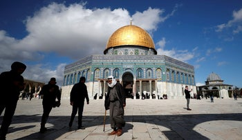People walk next to the Dome of the Rock on the compound known to Jews as Temple Mount and to Muslims as Noble Sanctuary, in Jerusalem's Old City, January 31, 2020