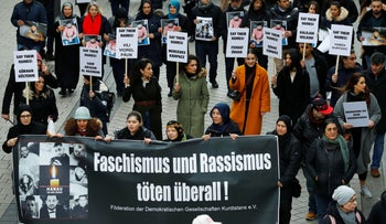 Protesters demonstrate against far-right radicalism and racism in Hanau, near Frankfurt, Germany, February 22, 2020