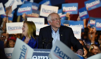 Bernie Sanders celebrates with his wife Jane after being declared the winner of the Nevada Caucus while holding a campaign rally in San Antonio, Texas, February 22, 2020
