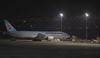A Korean airplane which arrived from South Korea is pictured after landing at Ben Gurion International Airport on February 22, 2020