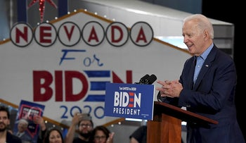 Democratic presidential candidate former Vice President Joe Biden speaks during a Nevada caucus day event at IBEW Local 357 on February 22, 2020 in Las Vegas, Nevada