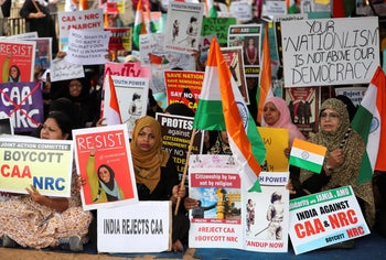Protest organized by several Muslim organizations against a new citizenship law that opponents say threatens India's secular identity in Bangalore, India. Dec. 23, 2019