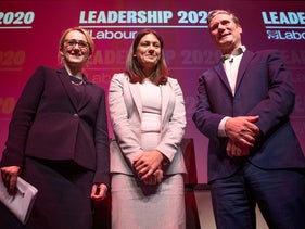 From left, Labour leadership candidates Rebecca Long-Bailey, Lisa Nandy and Keir Starmer at the Labour leadership hustings at the SEC centre, Glasgow, Scotland. Feb. 15, 2020