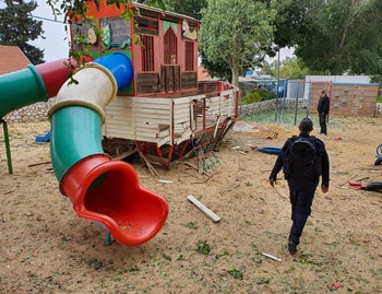 A Sderot playground after being struck by a rocket from Gaza, February 24, 2020.