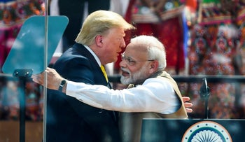 US President Donald Trump with India's Prime Minister Narendra Modi during 'Namaste Trump' rally in Motera, on the outskirts of Ahmedabad. February 24, 2020