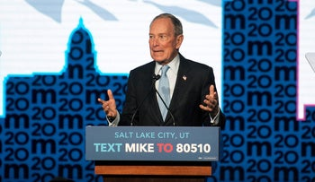 Democratic presidential candidate Mike Bloomberg holds a campaign rally in Salt Lake City, Utah, U.S., February 20, 2020.