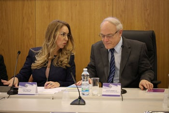Elections committee Director General Orly Ades, left, and Chairman Neal Handel, right, Jerusalem, January 2020