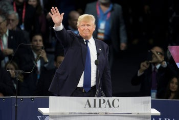Donald Trump at the AIPAC Policy Conference in 2016.