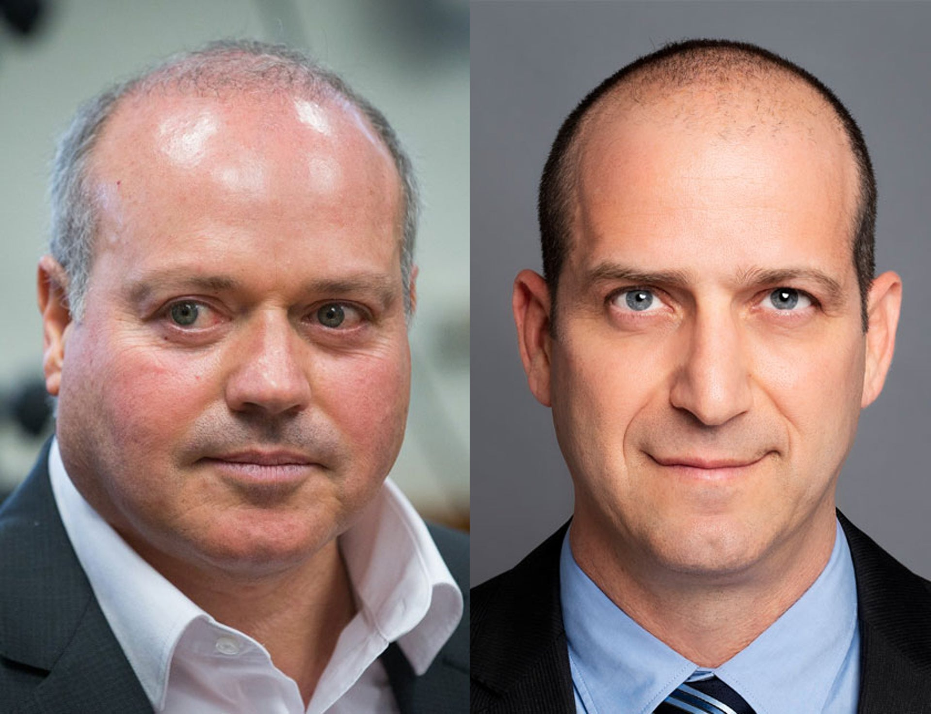Harel CEO Michel Siboni (left) and Migdal CEO Ran Oz