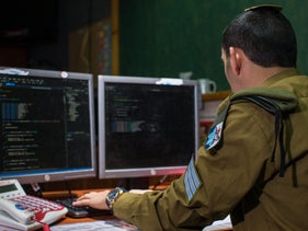 A soldier at work in one of the Israeli army's intelligence units.
