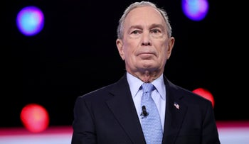 Democratic presidential hopeful Mike Bloomberg arrives for the tenth Democratic primary debate at the Gaillard Center in Charleston, South Carolina, on February 25, 2020.