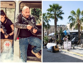 On the right: Shooting underway for 'Hit and Run' in Jaffa, Israel. On the left: A scene from 'Fauda.'