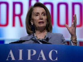 Speaker of the House Nancy Pelosi (Democrat of California) speaking at the 2019 AIPAC policy conference in Washington.
