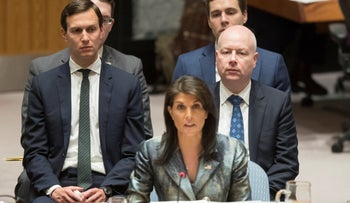 In this February 20, 2018 file photo, Jared Kushner, left, and Jason Greenblatt, right, listen as American Ambassador to the United Nations Nikki Haley speaks during a Security Council meeting on the situation in Palestine.