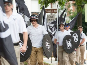 Neo-Nazis, white supremacists and other alt-right factions in downtown Charlottesville, Virginia, 2017.