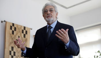 Opera singer Placido Domingo speaking at the Manhattan School of Music in New York, May 11, 2018.
