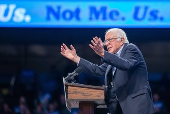 Democratic presidential hopeful Vermont Senator Bernie Sanders speaks to supporters at a campaign rally in Minneapolis, Minnesota on November 3, 2019.
