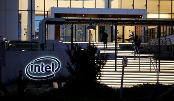 Intel Corp's logo is seen at the entrance to their ,smart building, in Petah Tikva, Israel December 15, 2019.