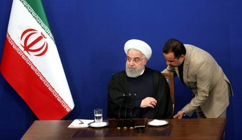 Iranian President Hassan Rohani at a press conference in Tehran, Iran, February 16, 2020.