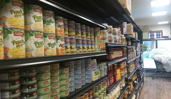 Some of JC Kosher's shelves are fully stocked with staples in its new location two blocks from the original store.