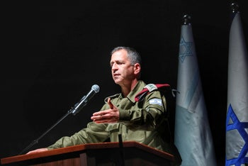 Israeli army chief Aviv Kochavi at an event honoring reservists, in Holon, February 24, 2020.