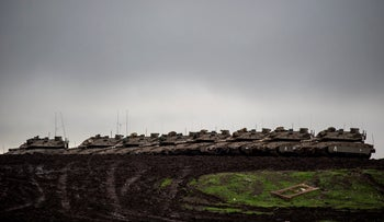 Israeli army tanks in the Golan Heights, January 4, 2020.