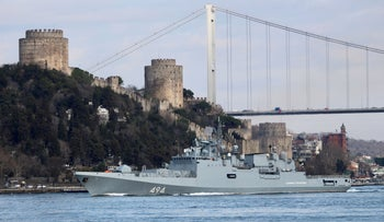 The Russian Navy's frigate Admiral Grigorovich sets sail in the Bosphorus, on its way to the Mediterranean Sea, in Istanbul, Turkey, February 28, 2020.