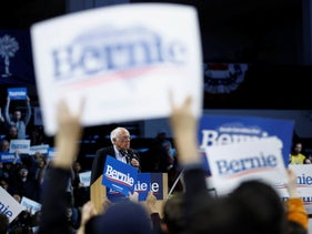 Democratic presidential candidate Sen. Bernie Sanders, I-Vt., speaks during a campaign event, February 27, 2020, in Spartanburg, S.C.
