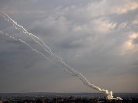 Rockets fired by Palestinian militants in Gaza City toward Israel, February 24, 2020