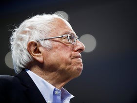 Democratic presidential candidate Bernie Sanders speaking during a campaign event in South Carolina, February 27, 2020.