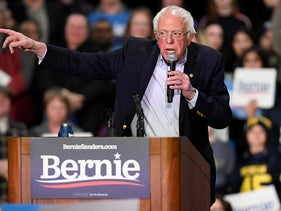 Democratic presidential candidate Sen. Bernie Sanders, speaks during a campaign event, February 28, 2020, in Springfield, Mass.