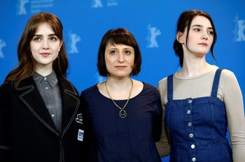 Director Eliza Hittman and actors Sidney Flanigan and Talia Ryder during the 70th Berlinale International Film Festival in Berlin, Germany, February 25, 2020.